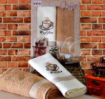 """Набор для кухни полотенце махровое и вафельное в подарочной коробке Turkiz """"Капучино"""""""