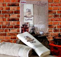 """Набор для кухни полотенце махровое и вафельное в подарочной коробке Turkiz """"Кофе"""""""