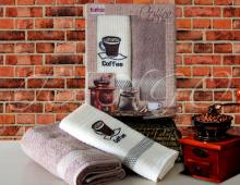 """Набор для кухни полотенце махровое и вафельное в подарочной коробке Turkiz """"Крепкий кофе"""""""
