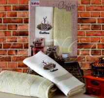 """Набор для кухни полотенце махровое и вафельное в подарочной коробке Turkiz """"Зелёный кофе"""""""