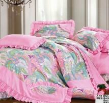 """Двухспальное постельное бельё-Евро +4 наволочки """"Зелёные узоры на розовом"""""""