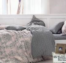 """2-х спальное постельное бельё-Евро и 4 наволочки """"Мелкая клетка и узоры"""""""