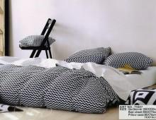 "2-х спальное постельное бельё-Евро и 4 наволочки ""Чёрно-белая волна"""