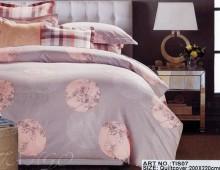 """2-х спальное постельное бельё-Евро и 4 наволочки """"Клетка, круги, цветы"""""""