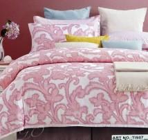 """2-х спальное постельное бельё-Евро и 4 наволочки """"Розовые узоры"""""""