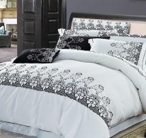 """2-х спальное постельное бельё с вышивкой -Евро """"Узоры на белом"""""""