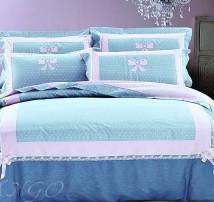 """2-х спальное постельное бельё с вышивкой -Евро """"Розовые бантики"""""""