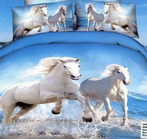 """2-х спальное постельное бельё Евро """"белые лошади"""""""