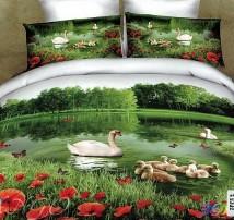 """2-х спальное постельное бельё-Евро """"Лебеди с потомством"""""""