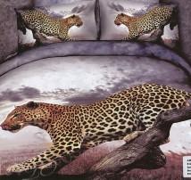 "2-х спальное постельное бельё-Евро ""Леопард сбоку"""