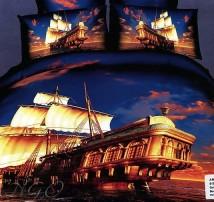 "2-х спальное постельное бельё евро ""Корабль на закате"""
