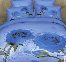 """2-х спальное постельное бельё-Евро """"Ледяные розы"""""""