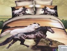 """2-х спальное постельное бельё-Евро """"Чёрная и белая лошадь"""""""