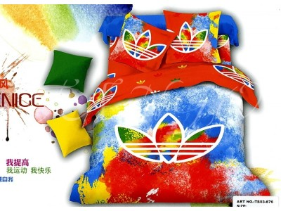 """2-х спальное постельное бельё-Евро """"Цветной Adidas"""", 306597"""