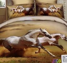 "2-х спальное постельное бельё-Евро ""Две лошади галоп"""