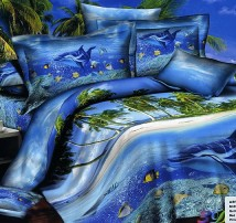 """2-х спальное постельное бельё-Евро """"Морские глубины"""""""