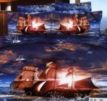 """2-х спальное постельное бельё Евро """"Корабль в закате"""""""