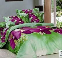 """2-х спальное постельное бельё Евро """"фиолетовые цветы"""""""