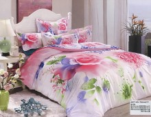 """2-х спальное постельное бельё-Евро + 4 наволочки """"Розы в синих красках"""""""
