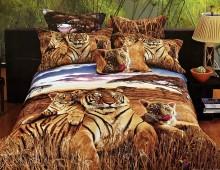 """2-х спальное постельное бельё-Евро """"Тигрица с тигрятами"""""""