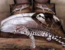 """Двуспальное постельное белье  Евро """"Леопард на дереве"""""""